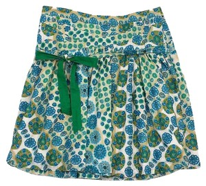 Marc Jacobs Blue Green Tan Floral Print Skirt