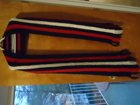 Ralph Lauren Ralph Lauren Navy Red and White stripe soft wool scarf wTassels