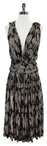 Tracy Reese Beige Black Diamond Print Dress
