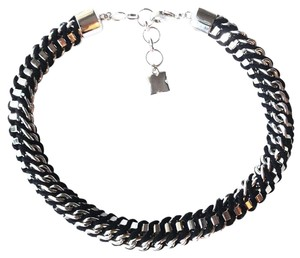 BCBGMAXAZRIA Black White Gold Color Choker Necklace
