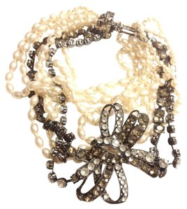 BCBGMAXAZRIA Faux Pearl White Flower Necklace