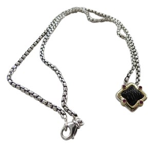 David Yurman David Yurman SS/18k Quatrefoil Sculpted Black Onyx with Ruby Accents Necklace; 18