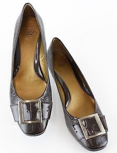Circa Joan & David Croco Embossed Leather Buckle B155 Brown Pumps