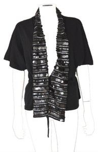 Christopher Fischer Holiday Festive Sequin Paillette Lapel Cashmere Cardigan