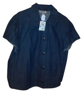 CJ Banks Button Down Shirt Blue Denim