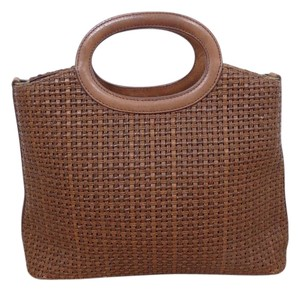 Fossil Leather Woven Tote in BROWN