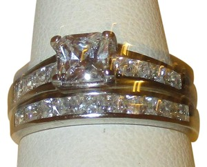 Genuine Sterling Silver 2 Piece Princess Cut Zirconia Wedding Set Size 5 6 7 8 9 10