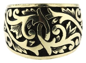 Couture Hand Engraved Filigree 14k Yellow Gold Chunky Wide Band Ring Size 6.5
