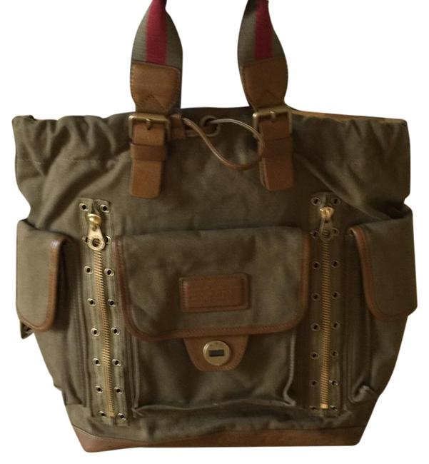 Item - O Khaki and Brown Canvas Leather. Tote