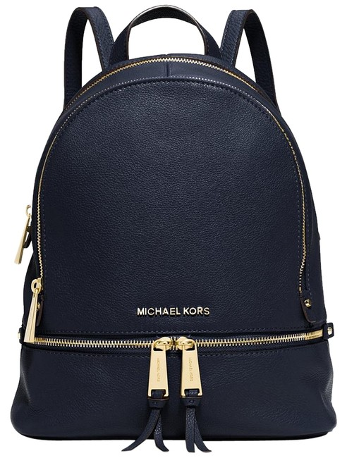 Item - Rhea Small Navy/Gold Leather Backpack