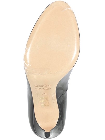 Max Mara Patent Patent Leather Round Toe Evening Stiletto Black Pumps