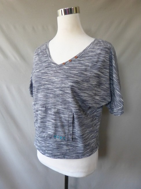 Roxy Heathered V-neck Batwing Crop Top Gray