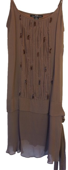 Item - Brown Flapper Style Knee Length Cocktail Dress Size 8 (M)