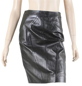 Michael Kors Mini Pencil Patent Leather Bodycon Evening Skirt Black