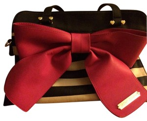 Betsey Johnson Tote in Black And White Stripe And Pink Bow