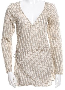 Dior Monogram V-neck Longsleeve Diorissimo Belted Top Brown, White