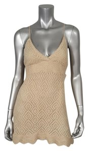 Diane von Furstenberg Metallic Pointelle Halter Top Gold