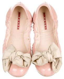 Prada Patent Leather Bow Silver Hardware Logo Round Toe Beige Flats