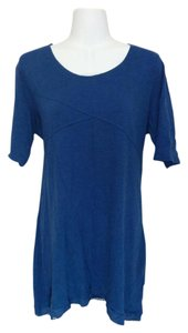 Style & Co Scoop Neck Shark Bite Lacy Asymmetrical Shirt Top Blue