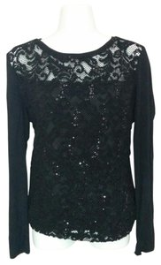 ECI New York Lacy Sequin Layered Sheer Longsleeve Top Black