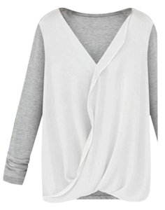 Goodnight Macaroon Color-blocking Chiffon Wrap Top White Gray