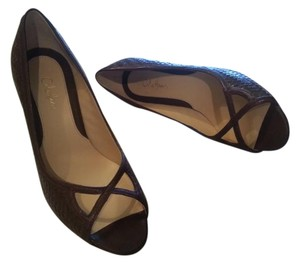 Cole Haan Sandals Woven Leather Sandals Peep Toe Brown Pumps