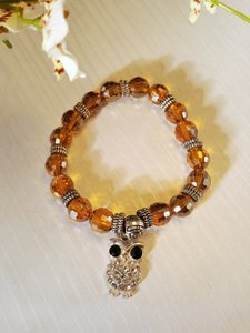 Other Handmade Beaded Owl Bracelet Silver Austrian Crystals
