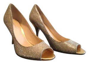 Nine West And Open Toe Sexy Gold & Silver Sparkle Pumps