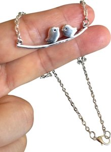 Other SILVER love birds on a branch NECKLACE 18
