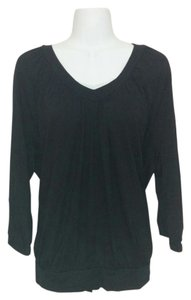 JM Collection Pleated V-neck 3/4 Sleeves Top Black