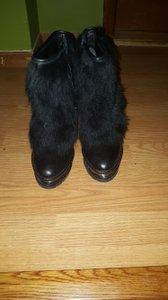 Brian Atwood Platform Leather Fur Bootie Black Boots