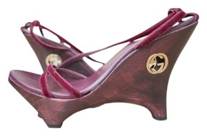 Gucci Limited Edition Wood and Violet Velvet Platforms