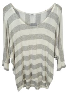 Splendid Stripes Dolman Sleeve T Shirt Grey and white