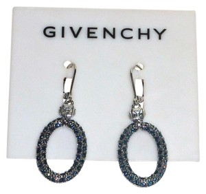 Givenchy NWT Givenchy Blue Crystal Oval Dangle Lever Back Drop Earrings