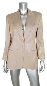 Giorgio Armani Metallic 1-button Blazer Jacket Designer Button Down Shirt Gold Silver