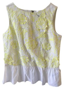 French Connection Lotus Flare Hem Embroidered Floral Sleeveless Top white/yellow