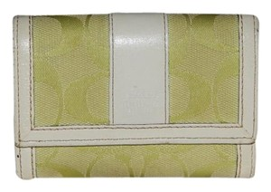 Coach Authentic Coach Wallet Bi-Fold Lime Green White Leather Change Purse