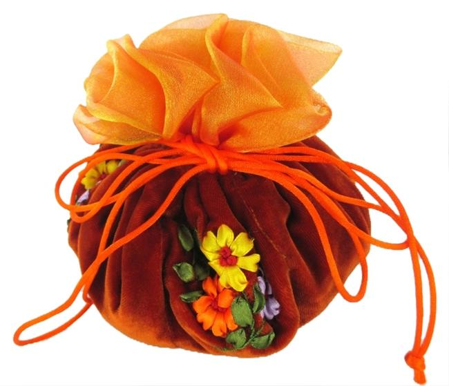 Cathayana Orange Jewelry Pouch Brocade Pockets Drawstring Travel Embroidered Jewelry Cathayana Orange Jewelry Pouch Brocade Pockets Drawstring Travel Embroidered Jewelry Image 1