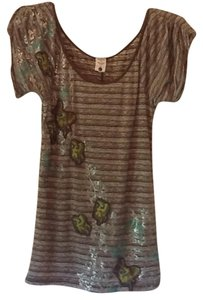 Free People T Shirt Gray, white, teal