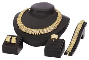 18K Gold Plated Shinning Wide Necklace Crystal Jewelry Sets Necklace Earrings Bracelet Ring