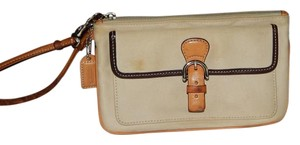 Coach Leather Canvas Wristlet in Tan and Brown