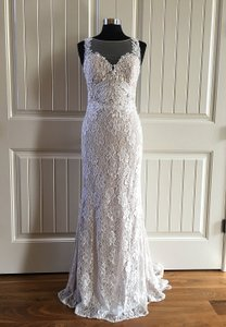 Watters Nude / Candlelight / Amaretto Lace and Stretch Silk Charmeuse Leandra Feminine Wedding Dress Size 8 (M)