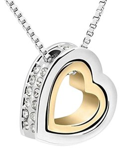 18K White Gold Plated WHITE Austrian Crystal Heart Pendant Necklace