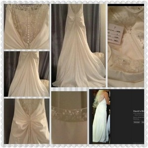 Galina Ivory/White Matte Finish Satin L8356 Destination Wedding Dress Size 8 (M)