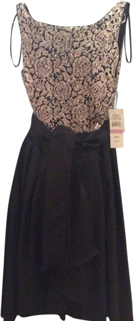 S.L. Fashions Black/Taupe Mid-length Cocktail Dress Size 6 (S) S.L. Fashions Black/Taupe Mid-length Cocktail Dress Size 6 (S) Image 1