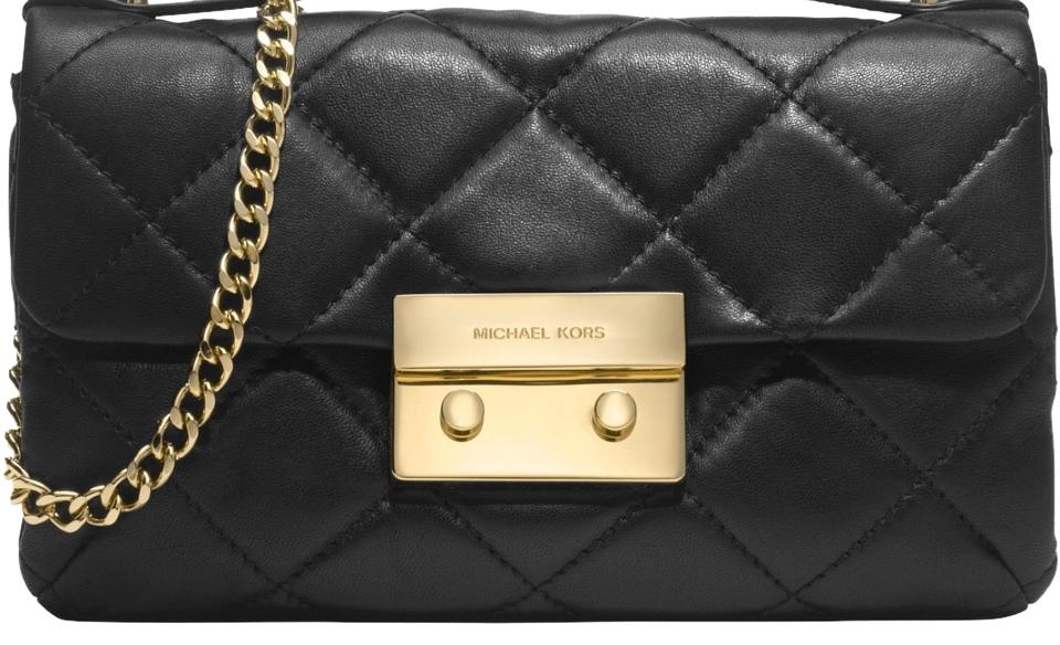 976ee9c94452 MICHAEL Michael Kors Sloan Small Quilted Black Leather Messenger Bag ...