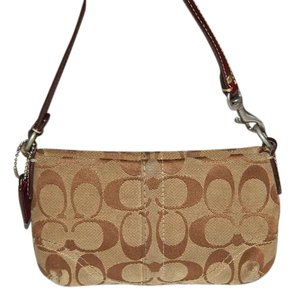 Coach Leather Signature C Wristlet in Khaki and Brown
