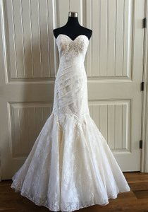 Allure Bridals Ivory/Lt Gold Embroidered Lace 8967 Feminine Wedding Dress Size 4 (S)