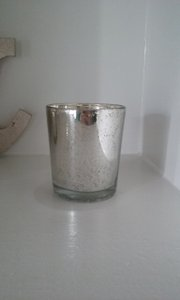 Silver Mercury Burlap And Gold Votive Holders