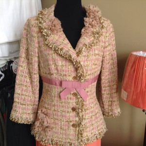 Teri Jon Tweed Chiffon Chanel Pink Jacket